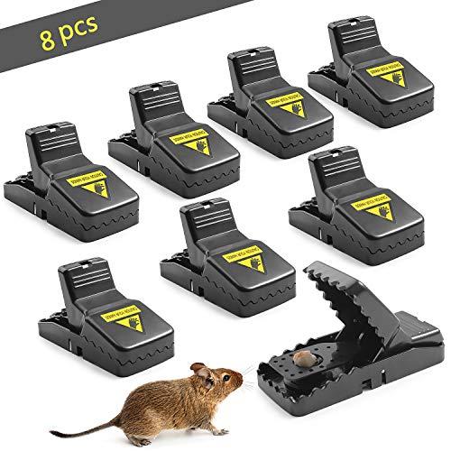 FORMIZON Trampas para Ratones, 8 Pcs Trampa de Rat Reutilizable, Alta Sensibilidad Respuesta Rápida Seguro Efectivo, Trampas de Control de Mascotas para Interiores y Exteriores
