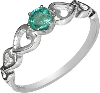 9k White Gold Natural Emerald Womens Solitaire Ring - Sizes 4 to 12 Available