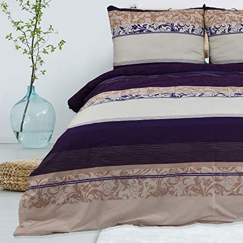 Bettwäsche 135x200 cm Deluxe 2 Teilig aus 100% Baumwolle Renforce mit Reißverschluss Bettwäscheset 1 Bettbezug und 1 Kissenbezug, Farbe mehrfarbig, Muster