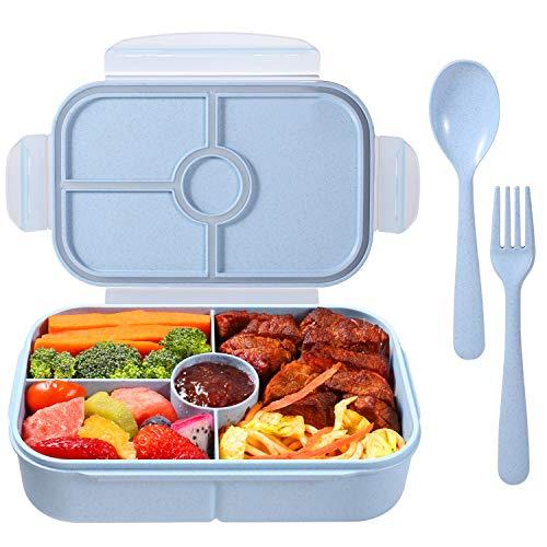 Bento Box Kinder Brotdose Lunchbox mit 4 Fächern Lunch Box Spülmaschinenfest Mikrowellenfest Kühlschrankfest (Mit Löffel und Gabel Set, Hellblau)