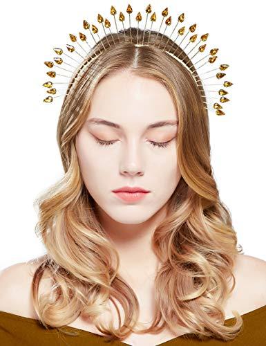 Coucoland Heiligenschein Haarreif Pailletten Strass Mary Halo Krone Damen 20er Jahre Stil Vintage Stirnband Flapper Haarband Karneval Kopfschmuck Damen Fasching Kostüm Accessoires (Stil 2)