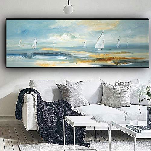 Barco Paisaje Abstracto Naturaleza Pintura al óleo sobre