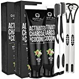2 Pack Dental Expert Activated Charcoal Teeth Whitening Toothpaste - Destroys Bad Breath with Tongue Scraper Cleaner Best Natural Black Tooth Paste Kit
