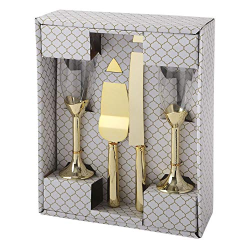 FASHIONCRAFT Elegant Glasses with Cake Knife and Server 4 Piece Set, Gold