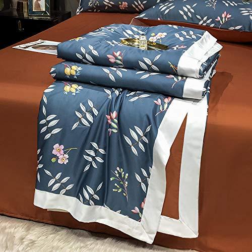 Relleno nórdico de fibra antiácaros,El aire acondicionado es tan fresco por cuatro conjuntos de verano, lavado de máquinas, corbata, doble descubierta, colcha delgada de verano-180x220cm verano es *