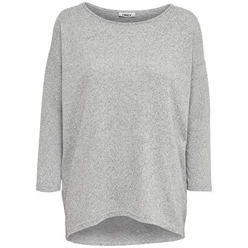 ONLY Damen Onlelcos 4/5 Solid Top Jrs Noos Langarmshirt, Light Grey Melange, XL EU