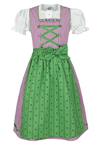 Isar-Trachten Mädchen Kinderdirndl Beere grün mit Bluse, Beere, 158