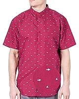 Visive Shirts for Men Hawaiian Short Sleeve Button Down | Up Slim Fit Shirt Red Shark Fins S