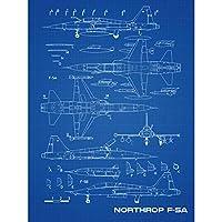 Northrop F-5A Freedom Fighter US Plane Blueprint Plan Extra Large XL Wall Art Poster Print ファイター 飛行機 青 壁 ポスター印刷