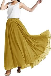Indian Trendy Women's Chiffon Full Length Elastic Waist Retro Long High Maxi Skirt Summer Beach Vintage Dress Big Hem 360