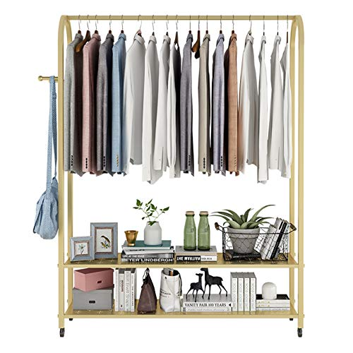 KELUNIS Metal Clothing Rack with Wheels, Heavy Duty Rolling Garment Rack 2-Tier Bottom Shelf And Side Hooks for Bedroom Retail Boutique Use, Gold(63''H)
