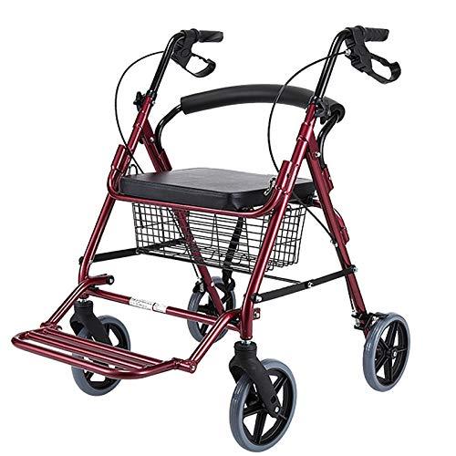 SSZY Andador Andadores para Ancianos Andador Plegable de Aluminio Rojo para Personas Mayores/Ancianos, con Asiento, Frenos y Ruedas Grandes, Andador Portátil de Movilidad de Altura Ajustable
