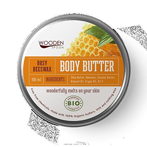 Cera cuerpo mantequilla 100ml | de madera cuchara de mantequilla de karité cacao Semillas Aceite de Coco macadmia Extracto de aceite de almendro en aceite de vitamina E cuerpo mantequilla