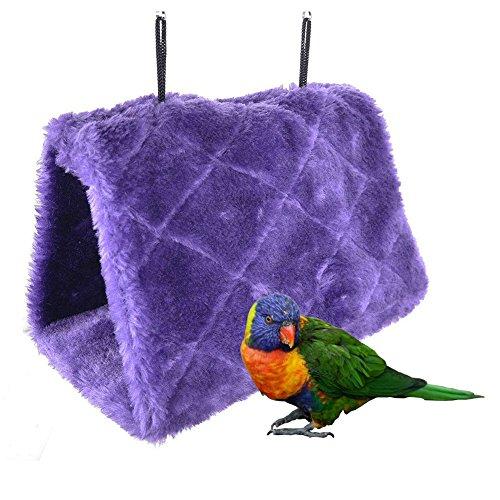 Bello Luna Nido de Loro púrpura anidar pájaro Mascota Nido de Invierno cálido Hamaca Colgante Cueva Jaula de Felpa Happy Hut Tienda de Cama (S)