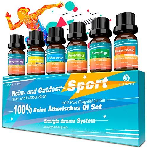 Ätherische Öle für Diffuser Set Duftöl Aroma Diffuser Öl-100% Pure Naturrein Aromatherapie Atherisches Ol Geschenkset,6x10ml Essential Oils für Luftbefeuchter,Duftlampen,Seife,SPA,Massage