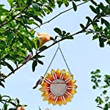 Bingdong Alimentador automático de pájaros en forma de flor para colgar adornos de jardín al aire libre, seguro y duradero