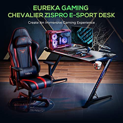 EUREKA ERGONOMIC Bureau Gaming Z1S PRO Bureau Gamer (Version Améliorée) Informatique PC Table pour lumineuse RVB et Tapis Souris Porte Gobelet Support Casque Noir 44.5''