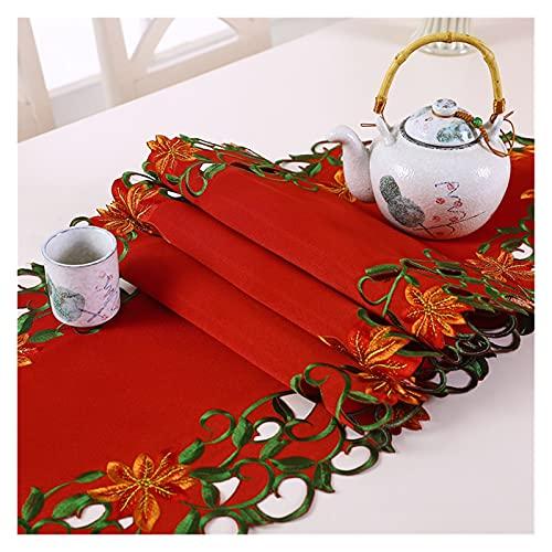 Camino de mesa Bordado Hueco De Mesa De Mesa De Navidad Estilo Pastoral Estilo Ecológico Amortiguador Cojín Almohadilla Té Unas Colchones (Color : Red, Size : 38 * 176cm)