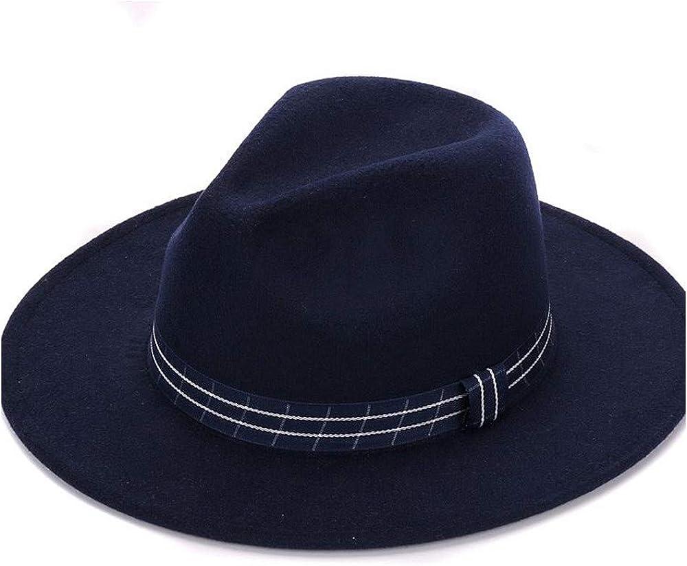 LLPBUA-HAT Women Vintage Wide Brim Fedora Hat with Striped Band Decorative Tide