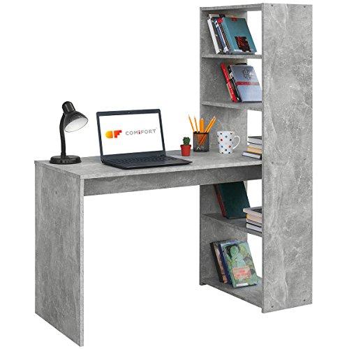COMIFORT Escritorio con Estantería - Mesa de Estudio con Librería de Estructura Firme, Moderna y Minimalista con 4 Baldas Espaciosas y de Gran Capacidad, Color Stone