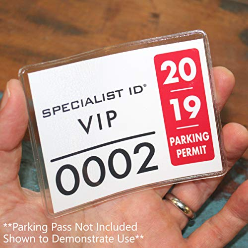2 Pack - Parking Permit Holder for Car Windshield - Clear Adhesive Parking Tag Pouch - Vinyl Plastic Document Protector Holds Large Parking Placard, Pass, Decal or Sticker (4 x 3) by Specialist ID Photo #8