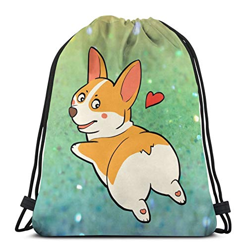 Shanxipeng Cute Dog Corgi Drawstring Backpack Sports Bag, Unisex Gym Bag, Dance Bag, Drawstring Bag