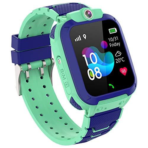 Smart Watch for Kids GPS LBS Tracker Phone, IP67 Waterproof Smartwatch Phone SOS Alarm Clock Camera Touch Screen Voice Chat Games Smartwatch for 3-12 Year Old Boys Girls Birthday Gift (S12Blue)