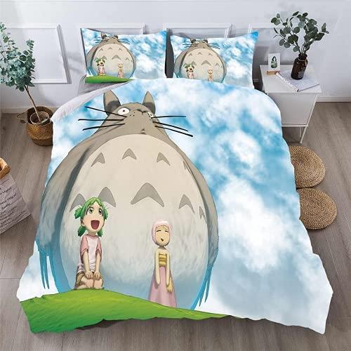 ZCMZMP Juego de funda de edredón de Mi vecino Totoro con dibujos animados de anime, fanáticos de anime, impresión digital 3D, fácil de limpiar, (1,155 x 220 cm + 50 x 75 cm x 2 cm)