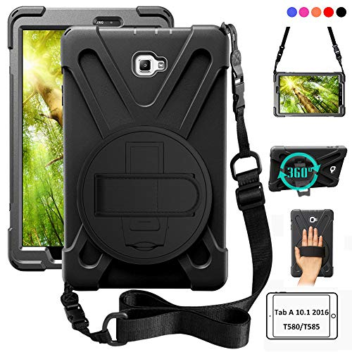 ZenRich Samsung Galaxy Tab A 10.1 Case 2016, Rugged Heavy Duty Shockproof Rotating Kickstand Protective Cover Case w/Strap for Galaxy Tab A 10.1 Inch Tablet SM-T580 T585 T587 (No S Pen Version),Black