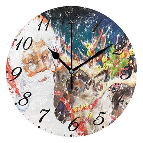 Jacque Dusk Reloj de Pared Moderno,Feliz Navidad Papá Noel Reno Copo De Nieve Muñeco De Nieve,Grandes Decorativos Silencioso Reloj de Cuarzo de Redondo No-Ticking para Sala de Estar,25cm diámetro