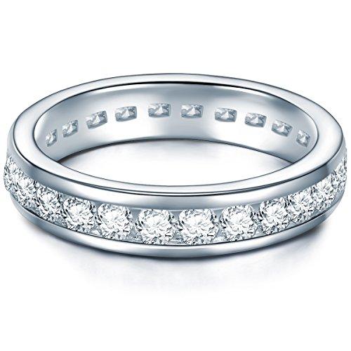 Tresor 1934 Damen-Memoirering Sterling Silber Zirkonia weiß im Brillantschliff - Verlobungsring Ehering Trauring