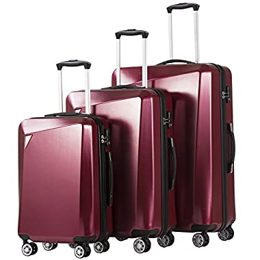 Coolife Luggage 3 Piece Sets PC+ABS Spinner Suitcase...