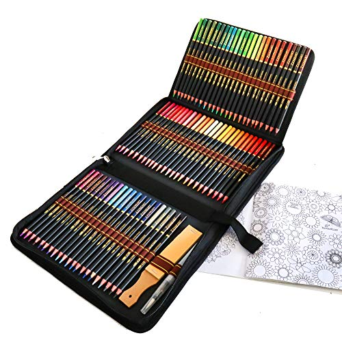 72 Crayons de Couleur Aquarellable, Set de Crayon Aquarelle pour Adultes et Enfants des mélanges et des superposer, idéal pour les livres de coloriage et comme fournitures scolaires
