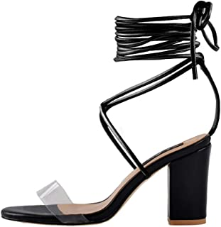 533feaade1 Onlymaker Womens Ankle Strap Lace up Clear Chunky High Heel Gladiator Open  Toe Heeled Strappy Sandals