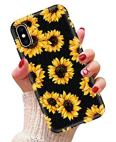 LYWHL iPhone Xs Max Case Sunflower Never Fade Flexible Silicone Frosted Case for Girls Women, Shock-Absorption Anti-Scratch Soft TPU Cute Flower Case Cover for iPhone Xs Max 6.5 inch (Black)