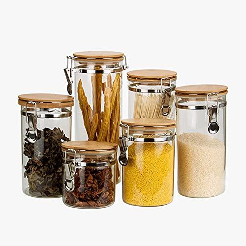 Tarros Cristal, Frasco De Vidrio Sellado para El Hogar Y La Cocina, Recipiente Hermético con Tapa De Clip, Puede Almacenar Dulces, Arroz, Café, Juego De 6