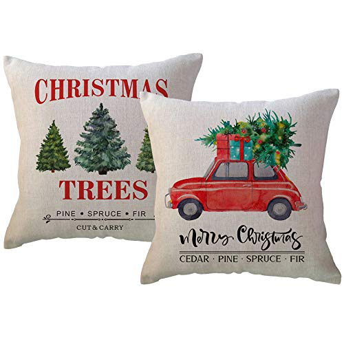 ULOVE LOVE YOURSELF Farm Fresh Christmas Decorative Throw Pillow Covers Xmas Tree and Red Vintage Truck Farmhouse Decorations Winter Holiday Cushion Pillowcases 20x20 Inches,Set of 2