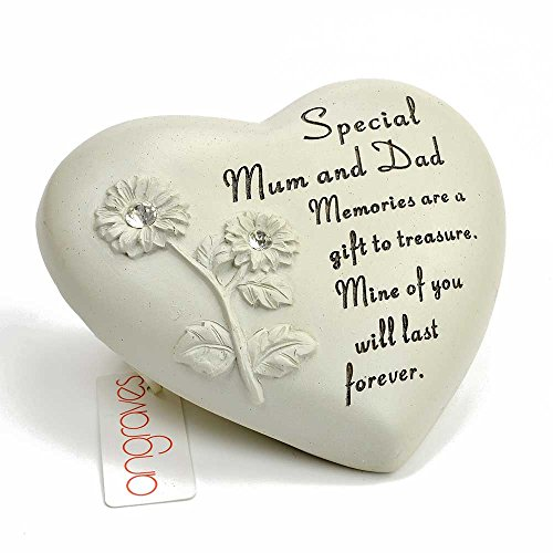 Angraves Special Mum & Dad Flower Diamante Heart Graveside Memorial Ornament Verse Plaque