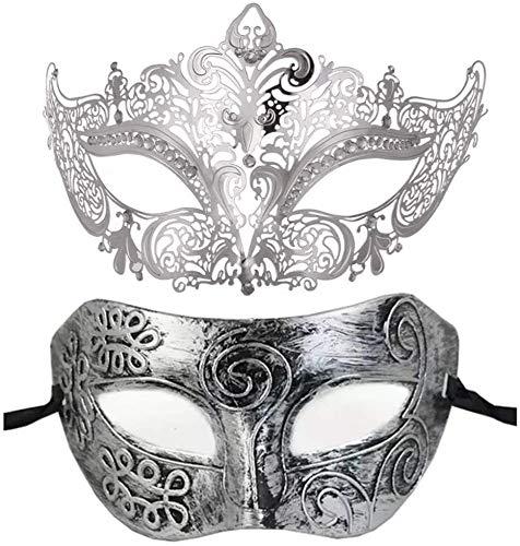 Neuheit 2 Stück des Paares venezianischer Maskerade-Masken-Halloween-Karneval-Kostüm-Kleid-Kugel-Partei-Dekoration Mask Karneval Karneval (Color : Silver)