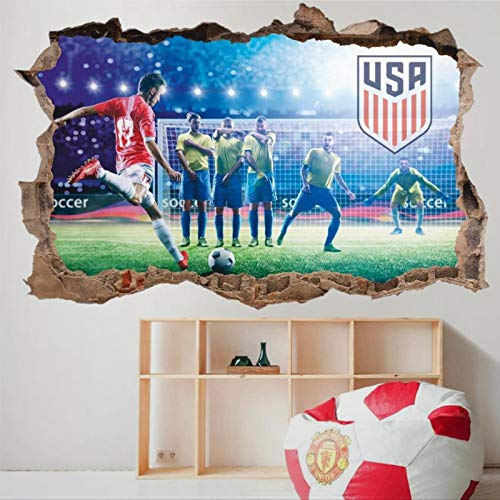 Football United States Men's National Soccer 3D Wall Mural Smashed Wall Creative Removable Poster Wall at Vinyl Decals for Bedroom Living Room Playroom Nursery Office Shop
