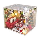 NROCF DIY Casa De Madera Estilo De Navidad Muñeca Muñeca Miniatura Mini Casa De Muñecas con Muebles Casa De Muñecas para Juguetes De Bricolaje,with Cover