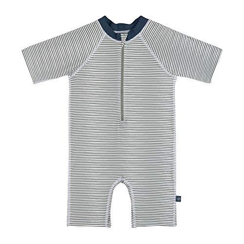 LÄSSIG Baby Schwimmanzug Sonnenazug Sonnenschutzanzug/Sunsuit UV-Schutz Striped blue, 18 mo, blau, 80 g
