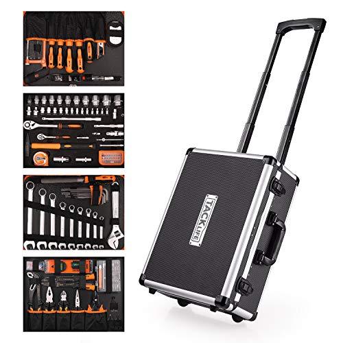 Werkzeugkoffer, TACKLIFE 177-tlg Werkzeugtrolley mit Rollen, multifunktionale...