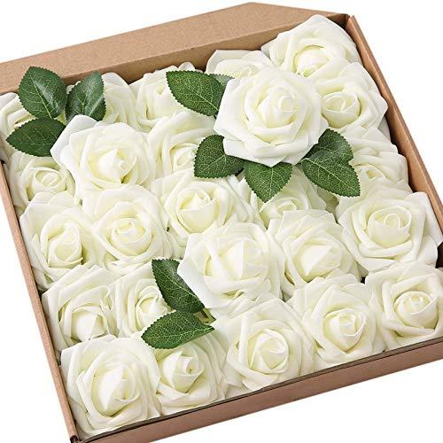 Lintimes Künstliche Rosen Blumen, 25 Stück Kunstblumen Rosenköpfe und Blatt für DIY Hochzeit Blumensträuße/Zuhause Dekorationen - Milchig weiß