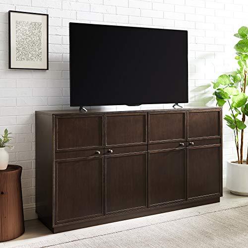 Walker Edison Alden Versatile 4 Door Framed-Storage-Sideboard, 62 Inch, Dark Brown Oak