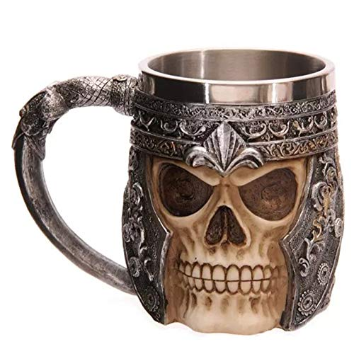 Tazas Calavera Vikinga 3D, Acero Inoxidable Esqueleto Cerveza Jarra Taza Guerrero Taza Café Inserto Resina Jarra Beber Regalo Cumpleaños 450 Ml