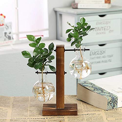 水耕栽培植物のためのレトロな固体木製スタンド付きデスクトップガラスプランター