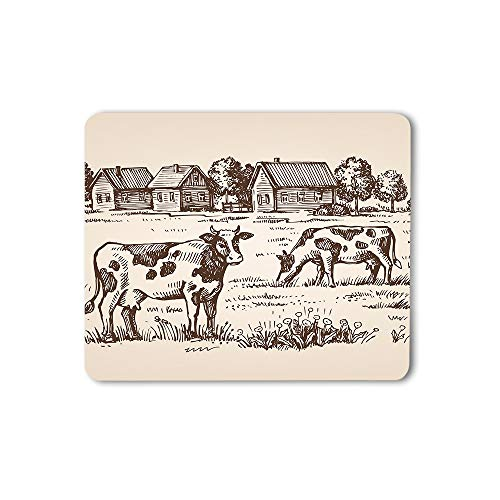 Moslion Cow Mouse Pad Farm Village Landscape House Countryside Animal Rustic Tree Nature Gaming Mouse Mat Non-Slip Rubber Base Thick Mousepad for Laptop Computer PC 9.5x7.9 Inch