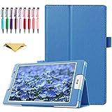 QYiD Hülle für LG G Pad F 8.0 / G Pad II 8.0, PU Leder Leichte Schutzhülle Cover Auto Schlaf/Wach Funktion für LG G Pad F 8.0 V495 / V496 / UK495 und G Pad 2 8.0 V498 8-Zoll Tablet, Hellblau