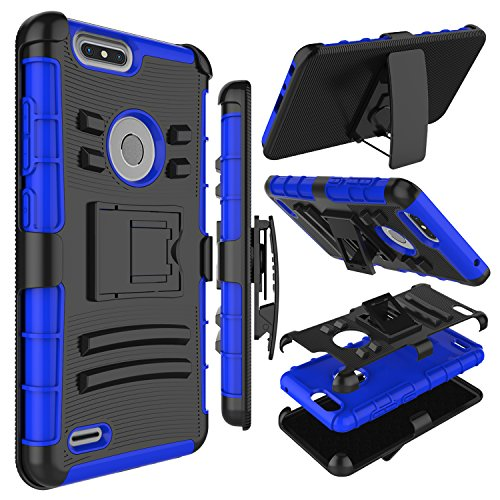 Zenic Compatible with ZTE Blade Z Max Case, ZTE ZMax Pro 2 Case, Heavy Duty Shockproof Full-Body Protective Hybrid Case with Swivel Belt Clip and Kickstand Compatible with ZTE Sequoia/Z982 (Blue)